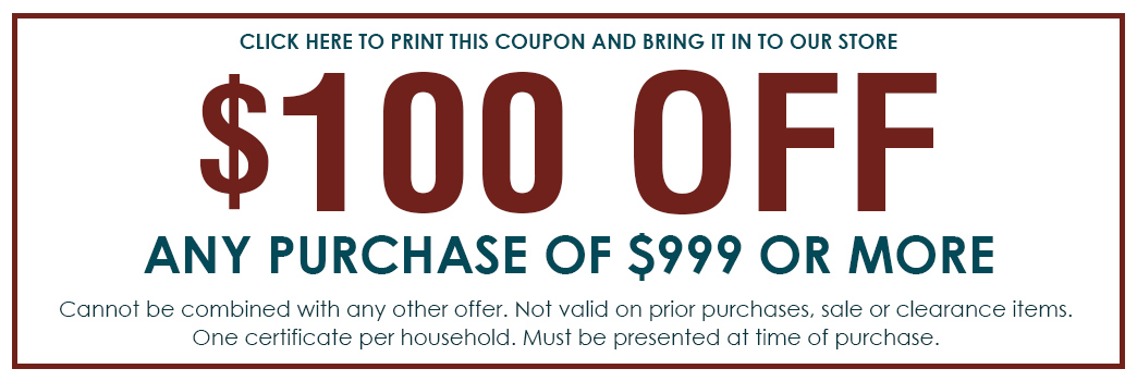 Receive $100 Off any purchase of $999 or more! Only at Abbey Carpet & Flooring in Santa Maria, California!